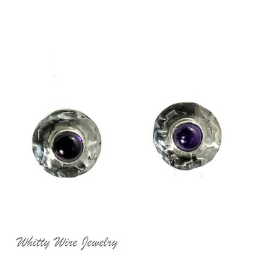 Textured Silver and Amethyst Earrings