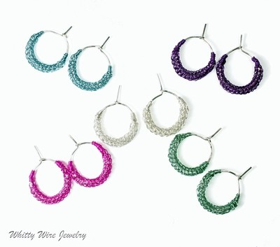 Silver Hoop Earrings with Your Choice Color Viking Knit