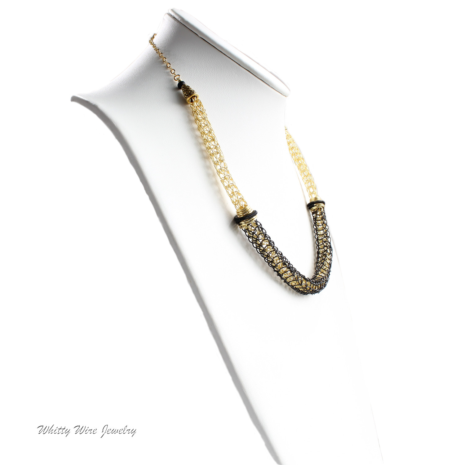 2 Layer Gold and Black Viking Knit Necklace
