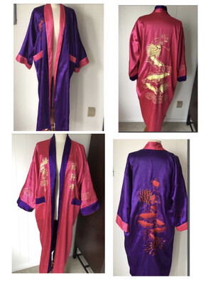 Reversible Pink/Purple Satin Robe