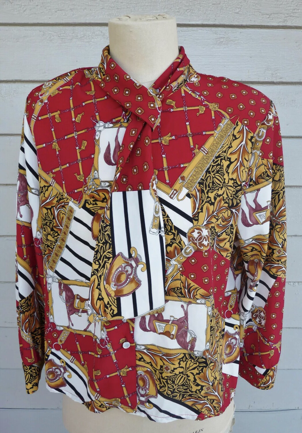 Red Equestrian Vibrant Blouse - L