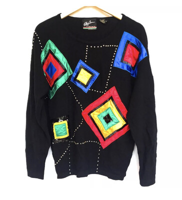 Colorful Diamond Sequin Sweater - M/L
