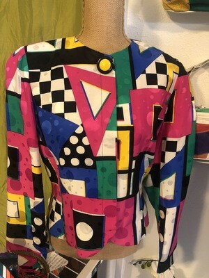 Anne Crimmons Geometric 90s Blazer - M