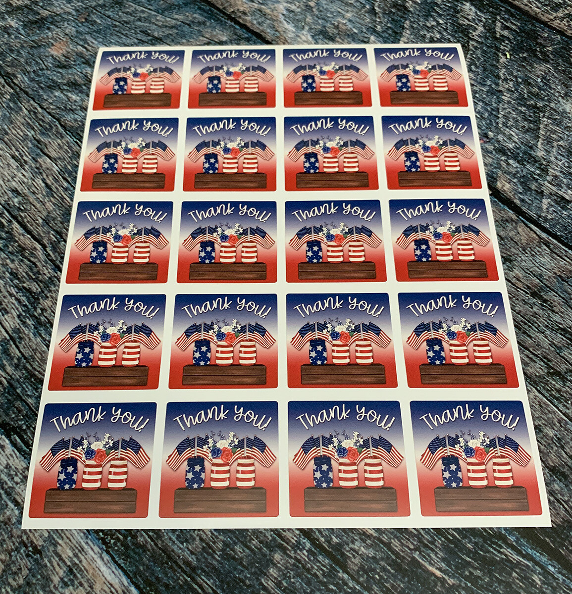 Patriotic Mason Jar Thank You Stickers
