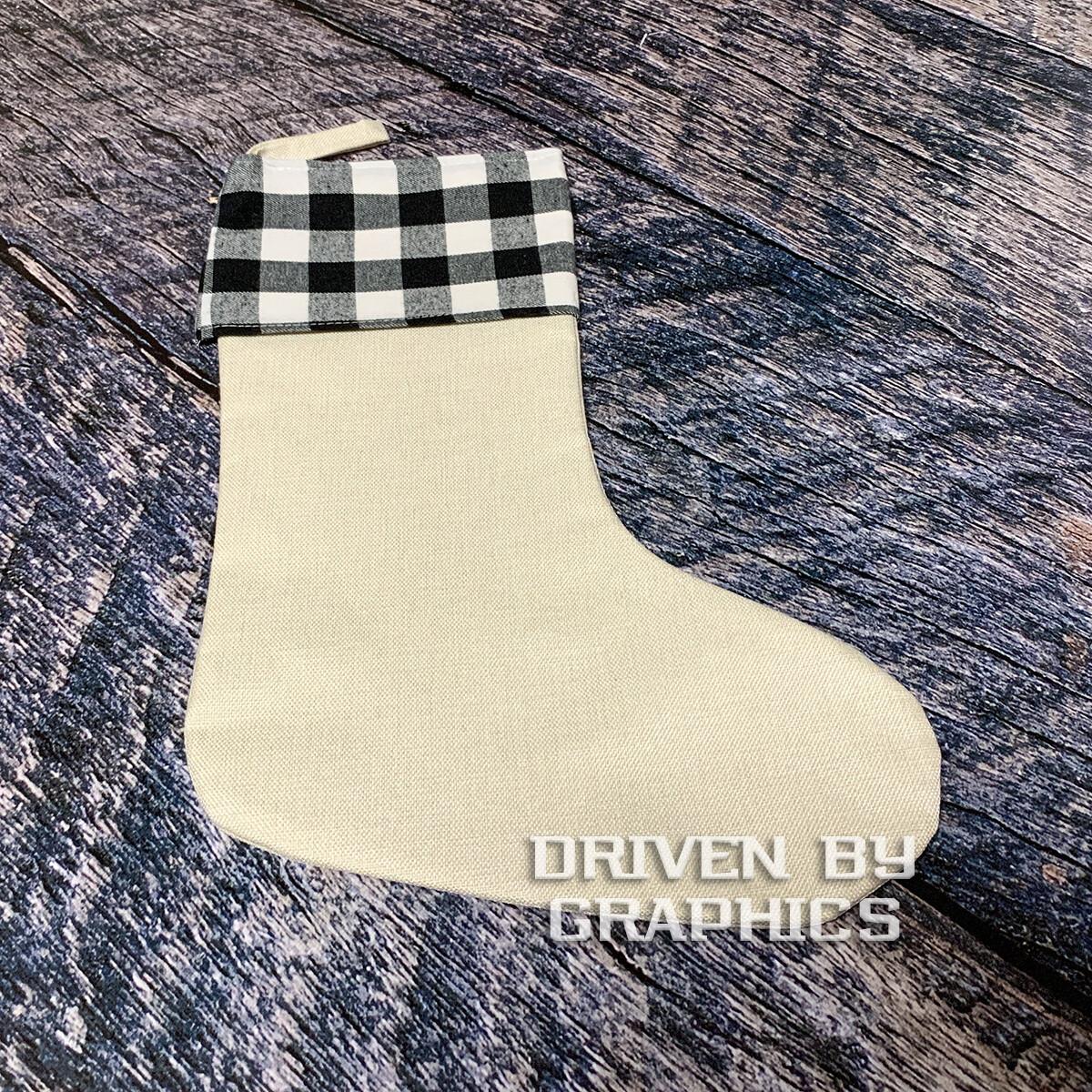 Black & White Buffalo Plaid Stocking w/ Linen Foot