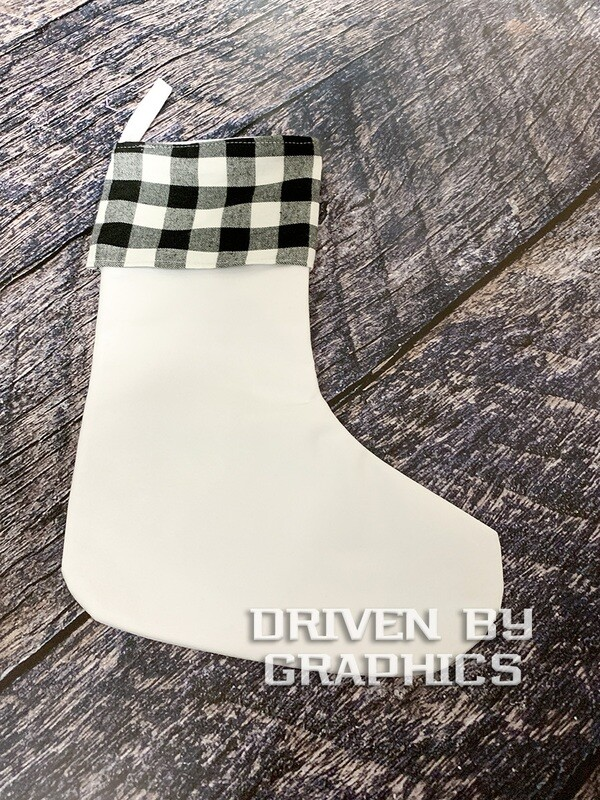 Black & White Buffalo Plaid Stocking w/ White Foot