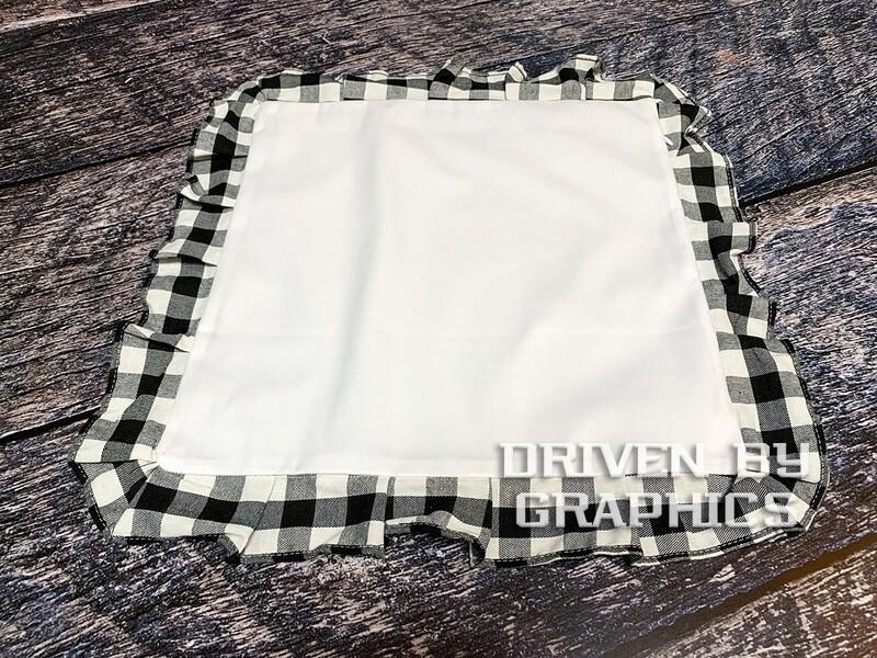Black & White Buffalo Plaid Pillow Cover w/ White Center