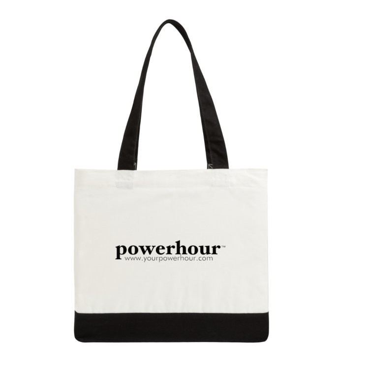PowerHour deluxe 2-tone cotton tote bag (black/white)