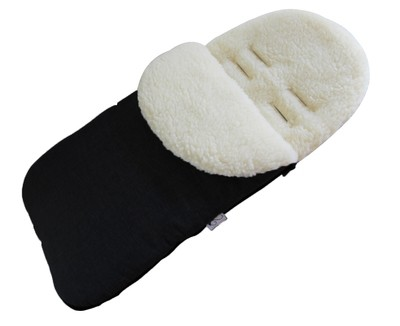 Classic Natural Wool Footmuff Pram Liner - Black