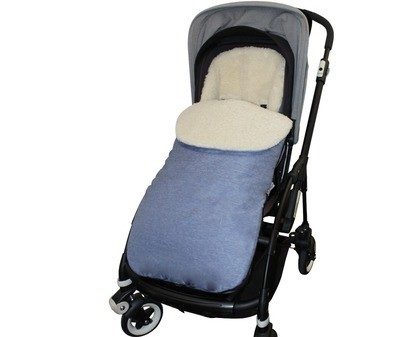 Classic Natural Wool Footmuff Pram Liner - Blue Jeans