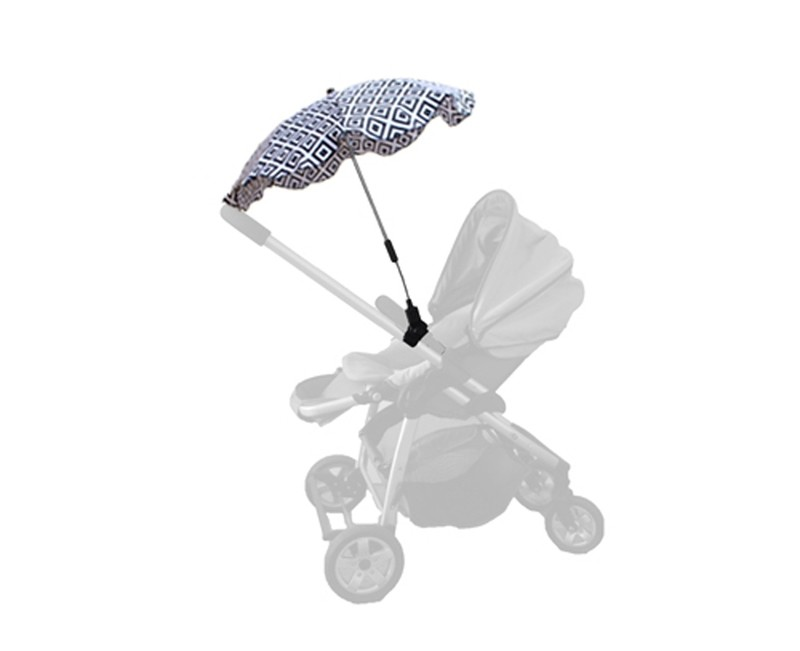 Baby Brolly Pram Parasol - Black & White