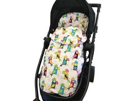 Cotton Footmuff Pram Liner - Parrots