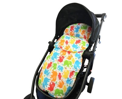 Cotton Footmuff Pram Liner - Elephants