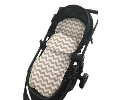Cotton Footmuff Pram Liner - Chevron Grey