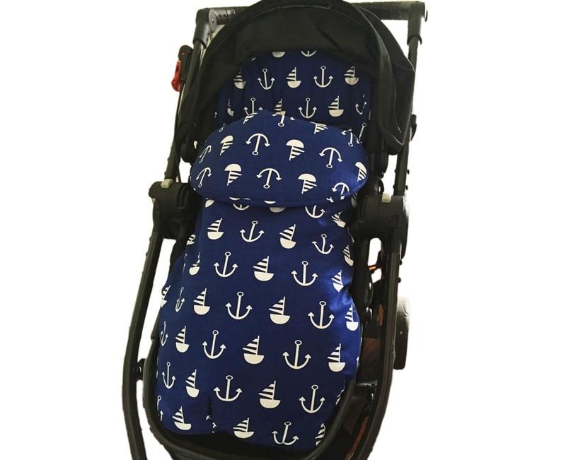 Cotton Footmuff Pram Liner - Nautical