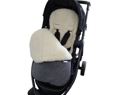 Classic Natural Wool Footmuff Pram Liner - Grey Melange