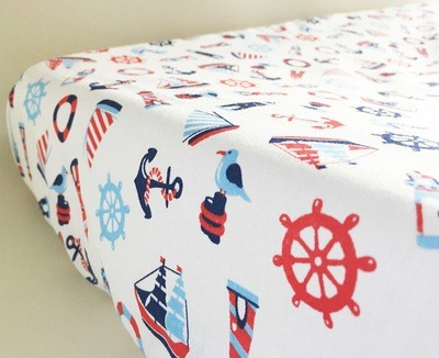 Change Mat Cover - Nautical White