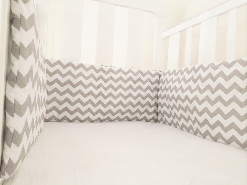 Cot Bumper - Grey Chevron