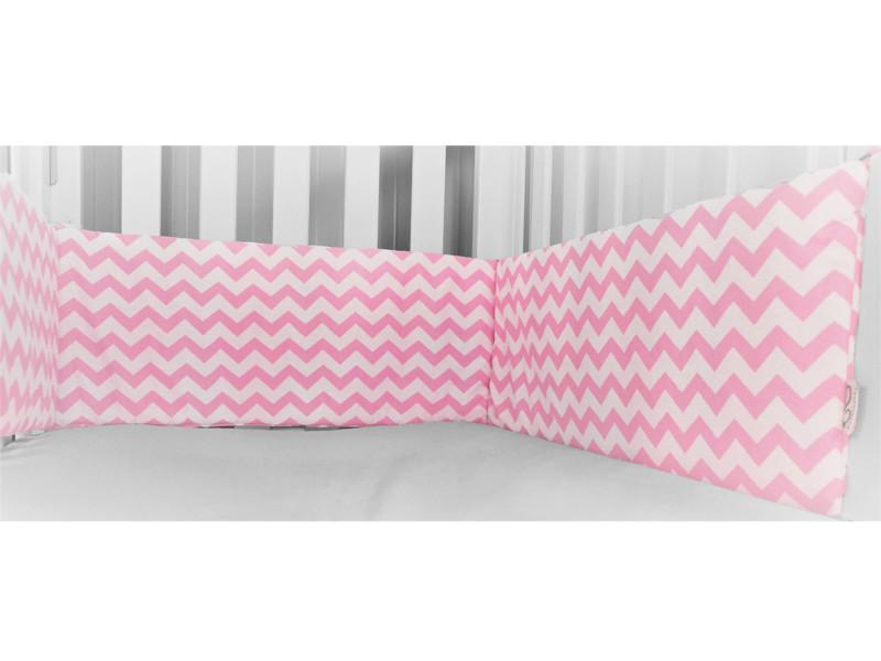 Cot Bumper - Chevron Pink