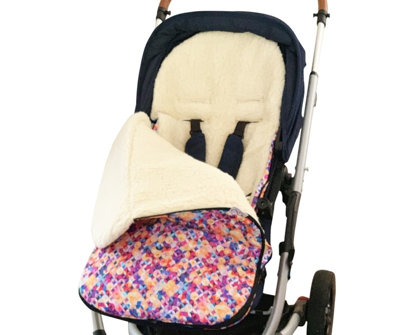 Classic Natural Wool Footmuff Pram Liner - Geometric Pattern