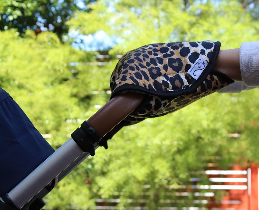 Wool Handmuff Pram Gloves - Leopard Pattern