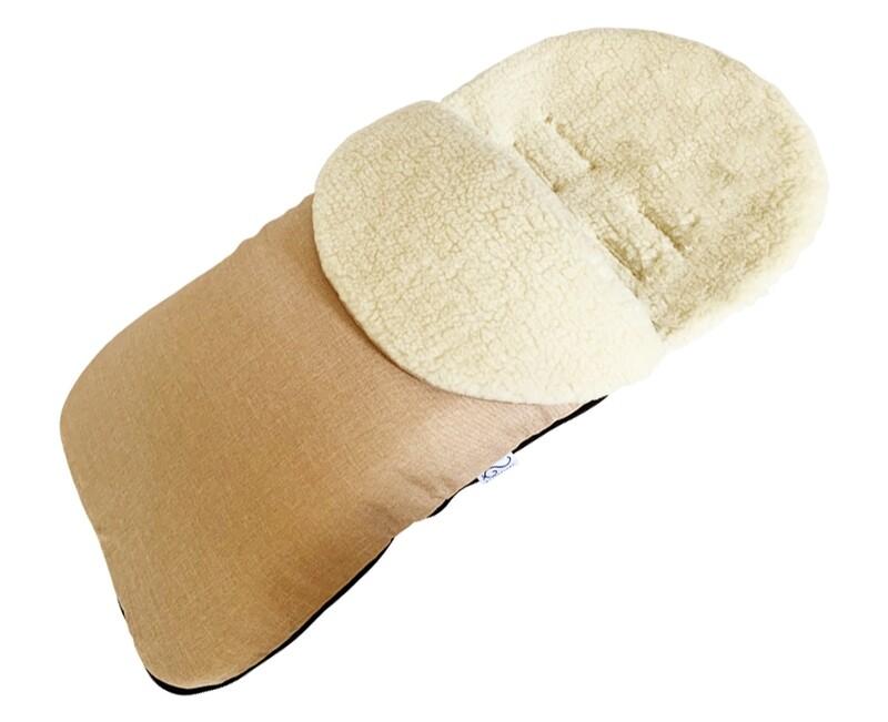 NEW Classic Natural Wool Footmuff Pram Liner - Beige
