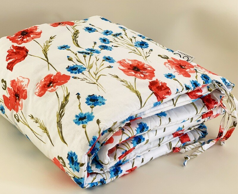NEW Cot Bumper - Poppy Flowers