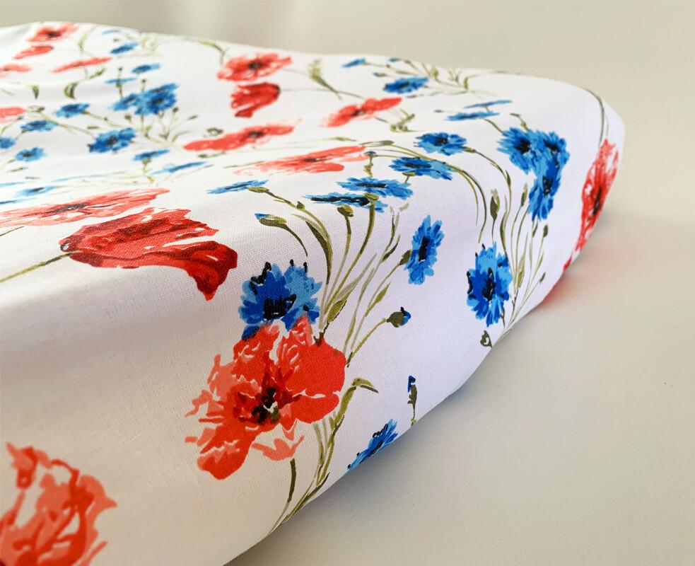 NEW Change Mat Cover - Poppy Flowers