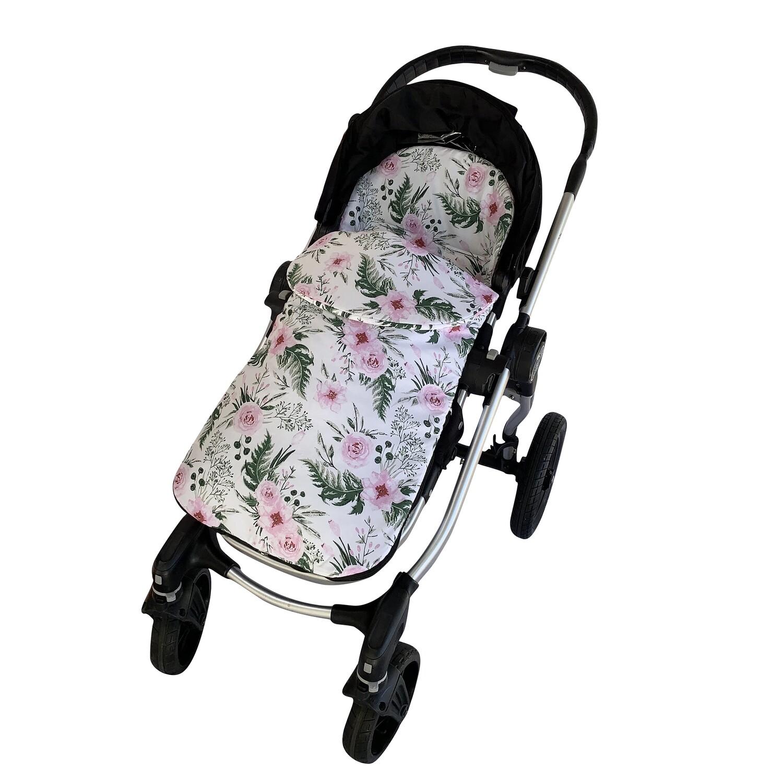 Cotton Pram Footmuff - Pink Flowers
