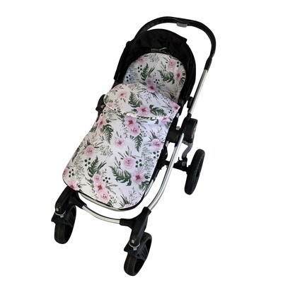 Cotton Footmuff Pram Liner - Pink Flowers