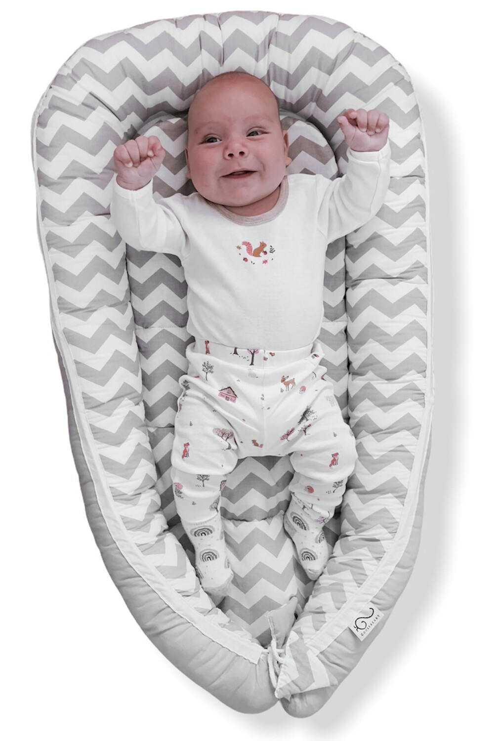 Baby Nest Day Bed Lounger Grey Chevron