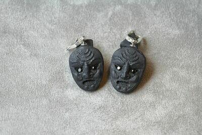 Серьги из черного фарфора, маска с черными фианитами.  Black porcelain earrings, mask with black cubic zirconias.