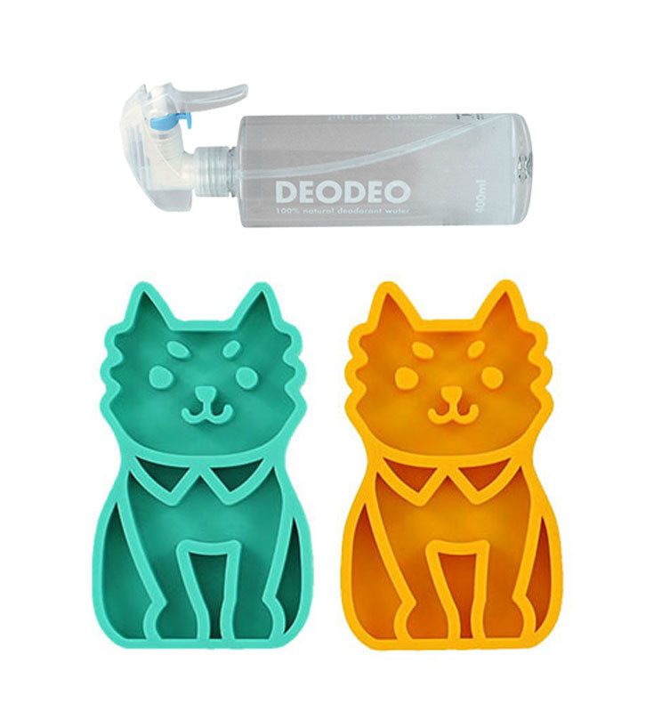 Cute Pet Massage Grooming Shampoo Brush with 100% Natural Pet Deodorizing Spray