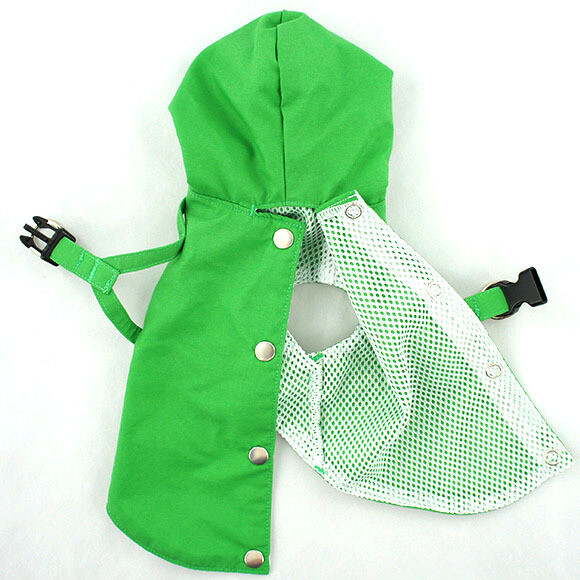 Green SMALL Dog Harness Raincoat with Hood and Leash Hole for Small Dogs
