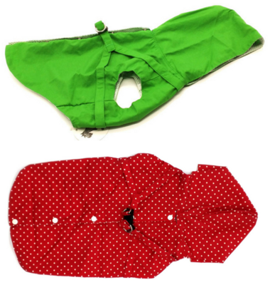 Green or Red Polka Dot EXTRA SMALL Dog Harness Raincoat with Hood and Leash Hole for Toy Breed Dogs