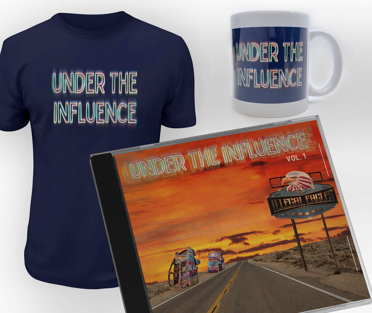 NEW! - UNDER THE INFLUENCE GIFT SET - NEW CD Album, Navy Tee Shirt and Mug Set.