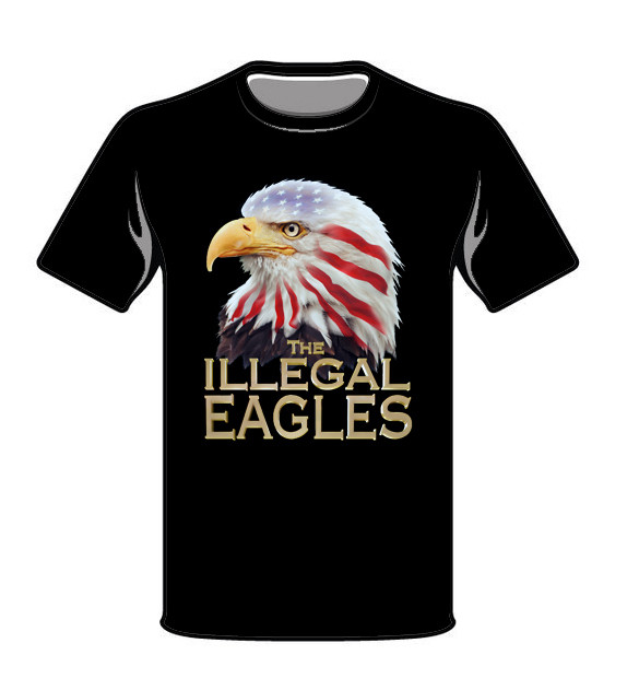 Tee Shirt Black - Printed Eagle, old gold lettering