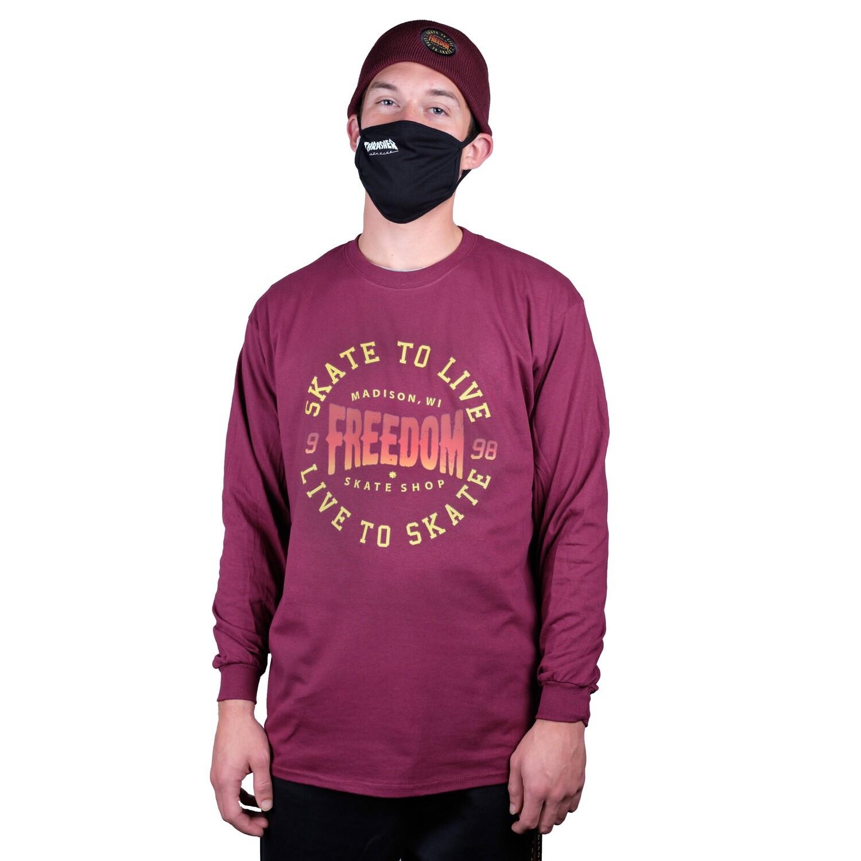 Freedom Live To Skate Longsleeve Shirt Maroon