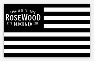 "RWB Black and White Die Cut Sticker 3 x 1.85"""