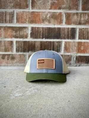 Hat - Gray/ Hunter Green Bill/ Flag