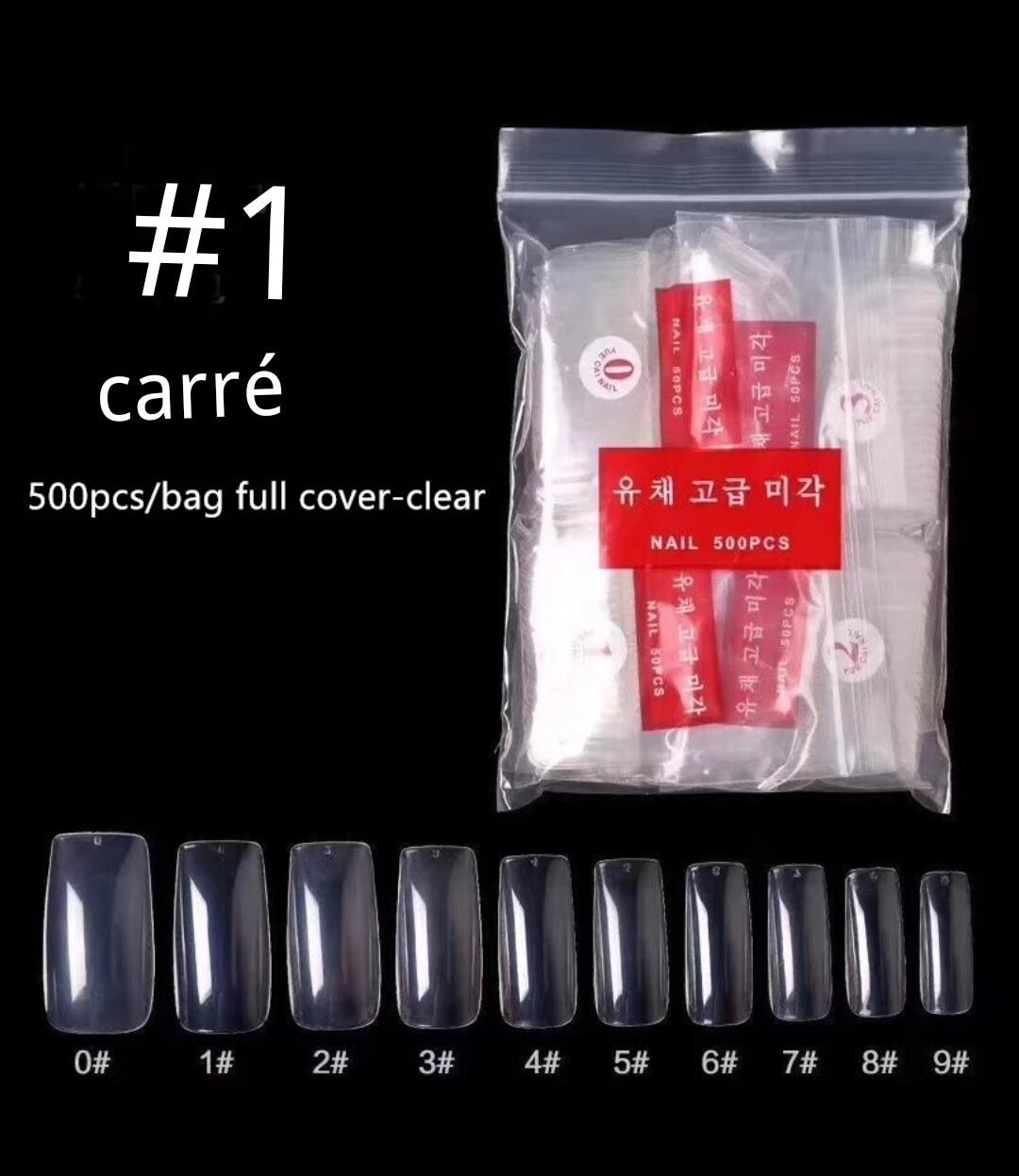 Prothèses pour ongles prêts à coller pqt de 500 (différents modèles)