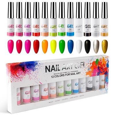 Kit 12 couleurs gel paint au pinceau