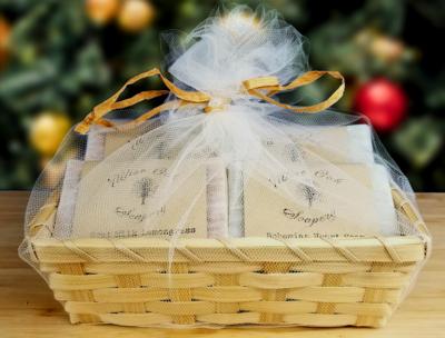 4-bar Artisan Soap Bamboo Basket Gift Set