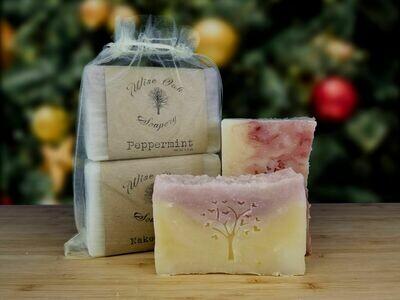 Organza gift set with 2 natural handmade soaps of choice