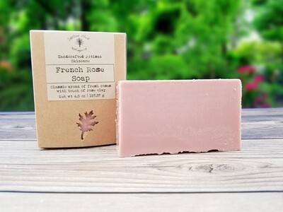 French Rose Natural Bath and Body Soap with essential oils and French Rose Clay