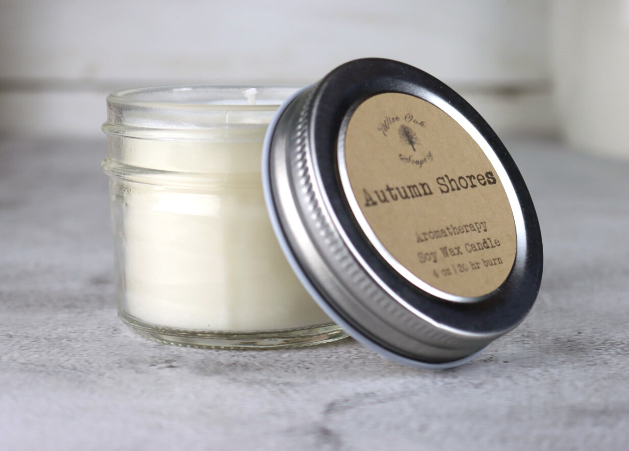 4 oz Aromatherapy Soy Wax Glass Jar Candle with Essential Oils