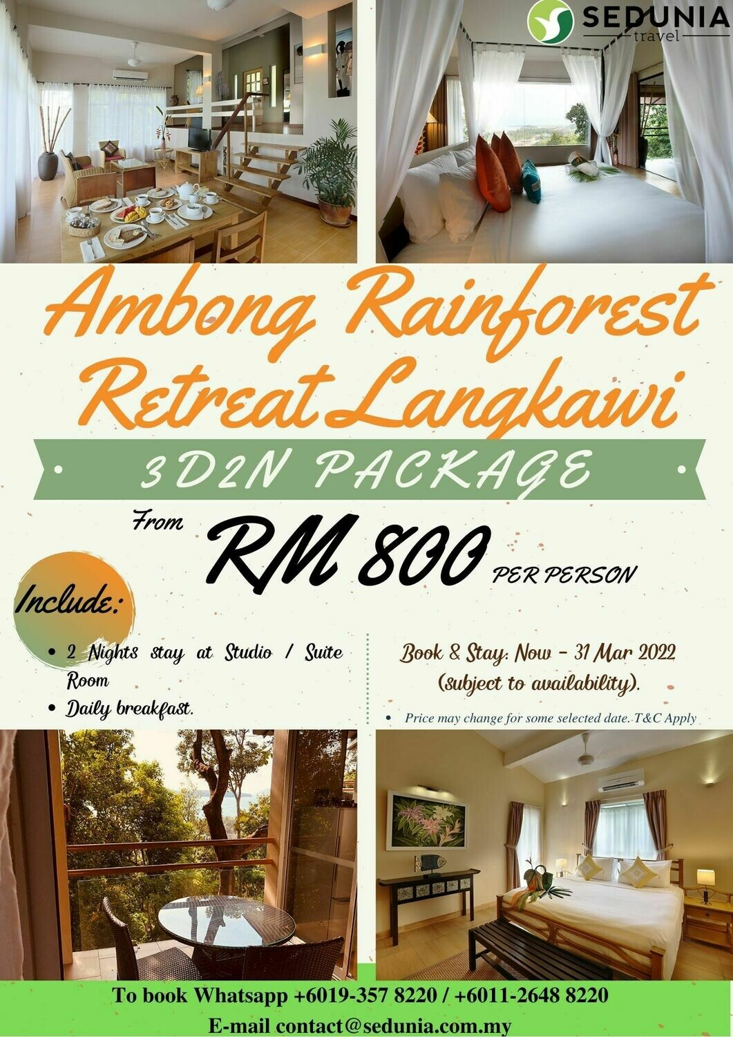 3D2N Package @ Ambong Rainforest Retreat Langkawi