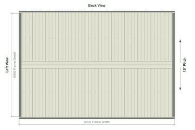6M X 9M X 2.8M GABLE ROOF CARPORT – REG C TC2.5