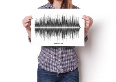 Johnny Cash - I Walk The Line Soundwave Poster
