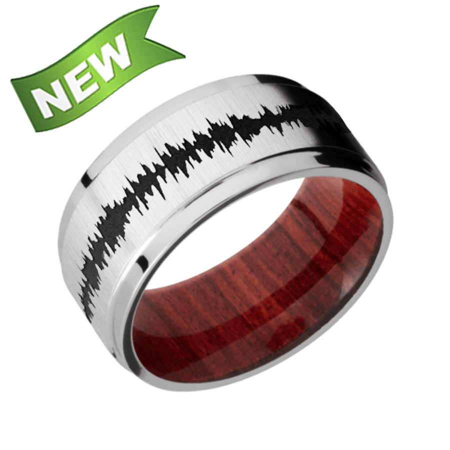 Titanium Flat Wide Grooved Edges featuring a Red Heart sleeve